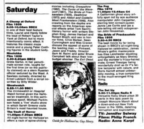 the vault of horror television listing