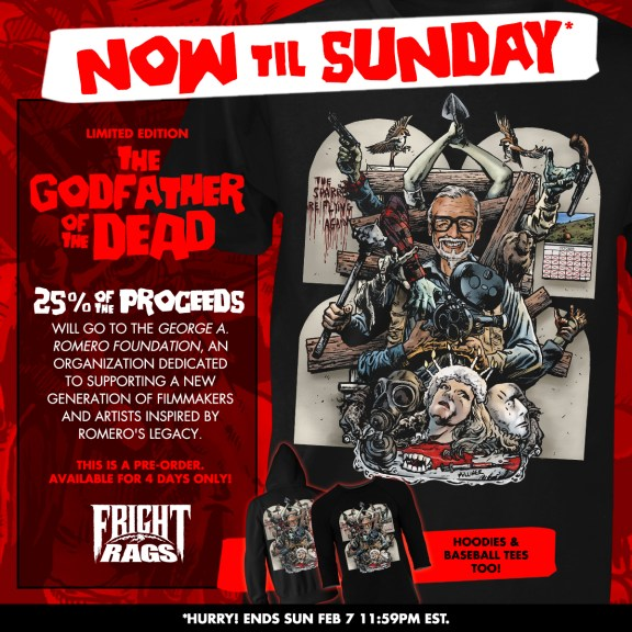 Celebrate GEORGE ROMERO's Birthday with Fright-Rags' Tribute Design