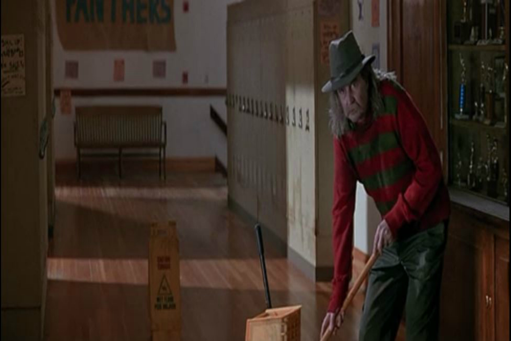 "Fig. 2: One of the film's intertextual references: ""Fred"" the janitor"