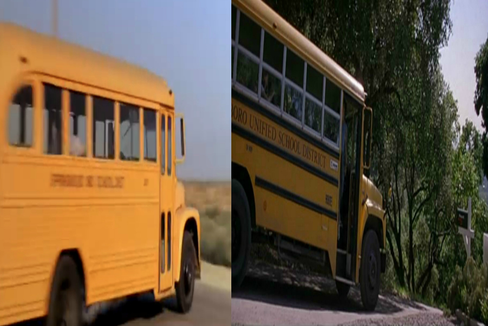 School buses from Nightmare on Elm Street 2 (left) and Scream (right)