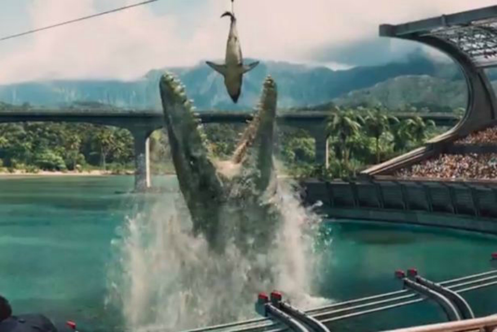2. Jurassic World, mesosaurus eats shark