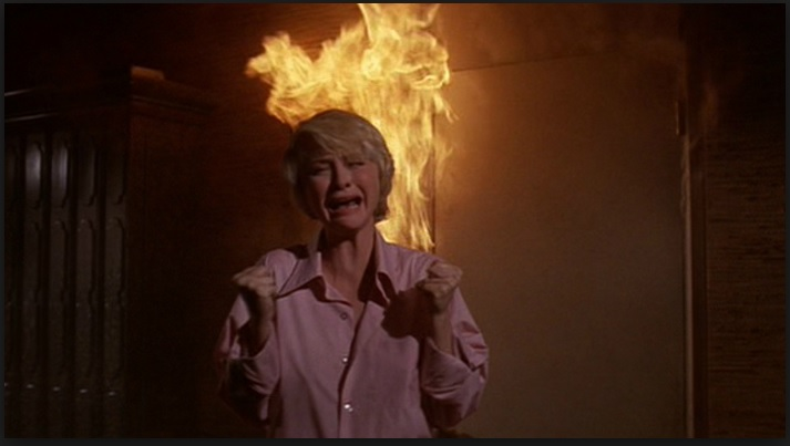 Lorri trapped in the fire in The Towering Inferno