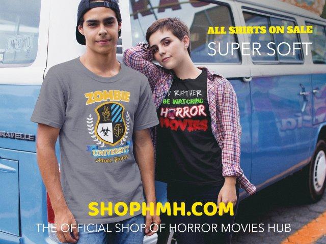 horror shirt product display