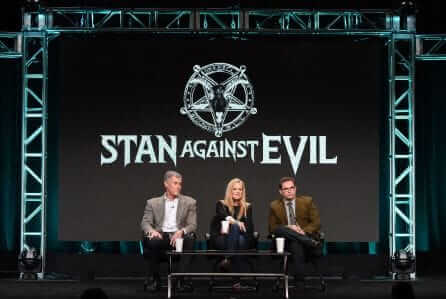 Mandatory Credit: Photo by Rob Latour/Variety/REX/Shutterstock (5810228b) John C. McGinley, Janet Varney and Dana Gould IFC 'Stan Against Evil' Panel at the TCA Summer Press Tour, Day 4, Los Angeles, USA - 31 Jul 2016