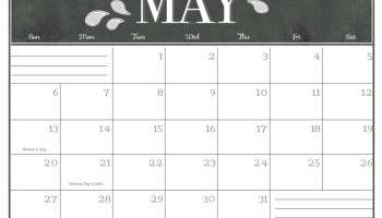 Free May 2018 Calendar Printable Word Cute Landscape Pdf May