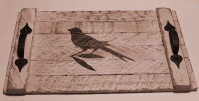 white tray with bird