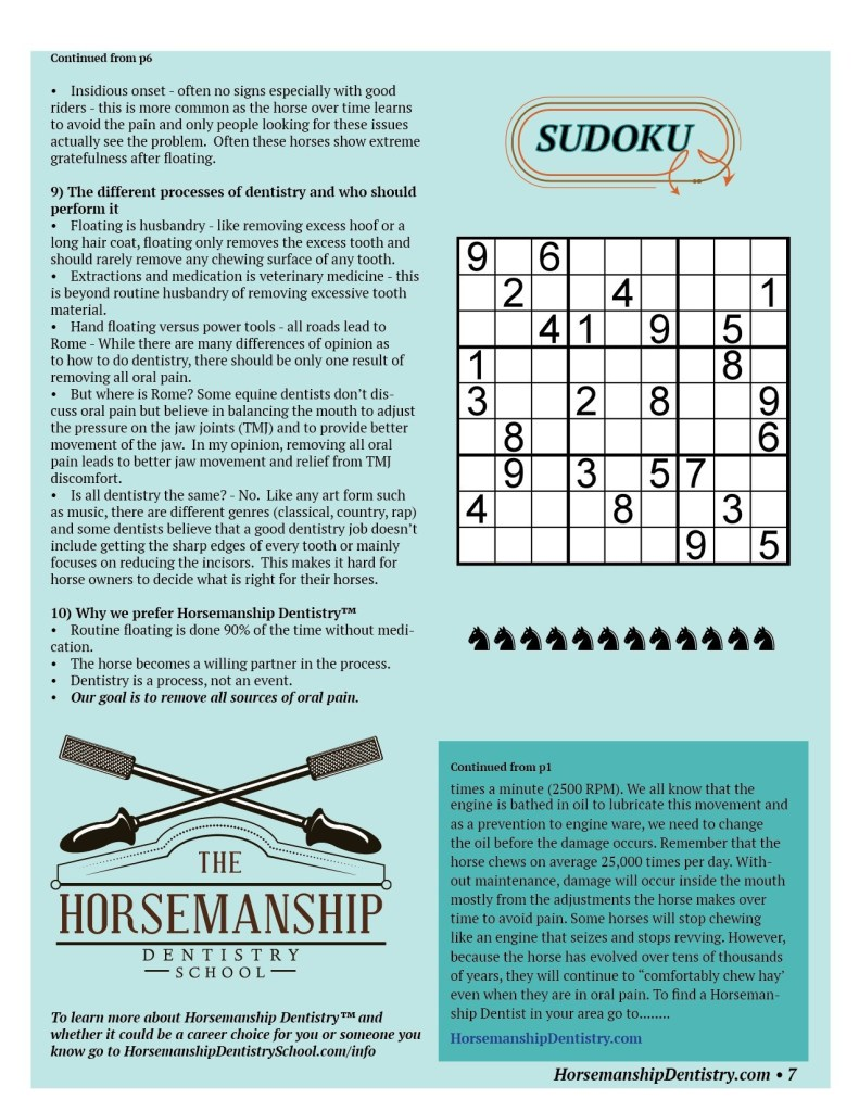 Horsemanship Dentistry Newsletter Volume 1 page 7
