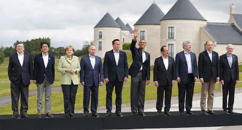 G8 leaders pose for a group photograph at the G8 Summit, at Lough Erne, in Northern Ireland