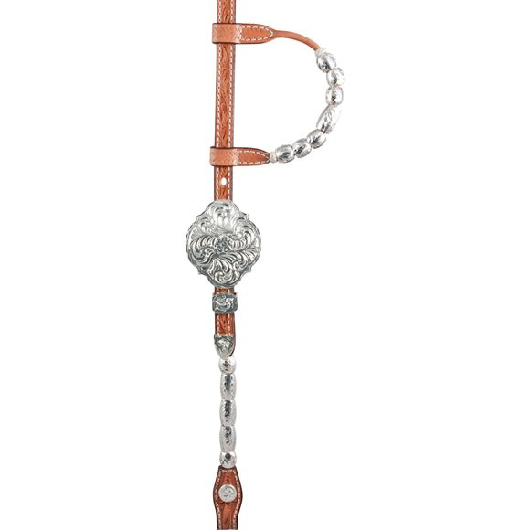 Double S Silver Ferrule Show Headstall with Silver Barrels