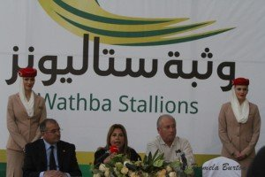 Lara Sawaya with  (l)Dr Ali Al Mastouri and (e)Martial Boisseuil