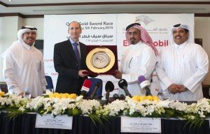 Shk Mohamed Bin Faleh Al Thani giving a momento to Mr Alistair Routledge
