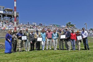 Maryland Horse Industry Board presented their awards winners, all from Fair Hill, at the Fair Hill races on May 23, 2015.  Dr. John R.S. Fisher, Valiant Boy (Lizzie Merryman), Bruce Jackson (Fair Hill Equine Therapy Center) and Main Sequence (Graham Motion).  Jim Steele in navy blue jacket.