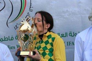 Stolt with the HH Sheikha Fatima Bint Mubarak Ladies race   trophy
