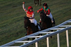 Enna Thomas winning the HH Lateefa ponies race