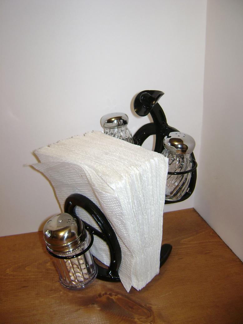 Horseshoe Cowboy SaltPepper and napkin holder