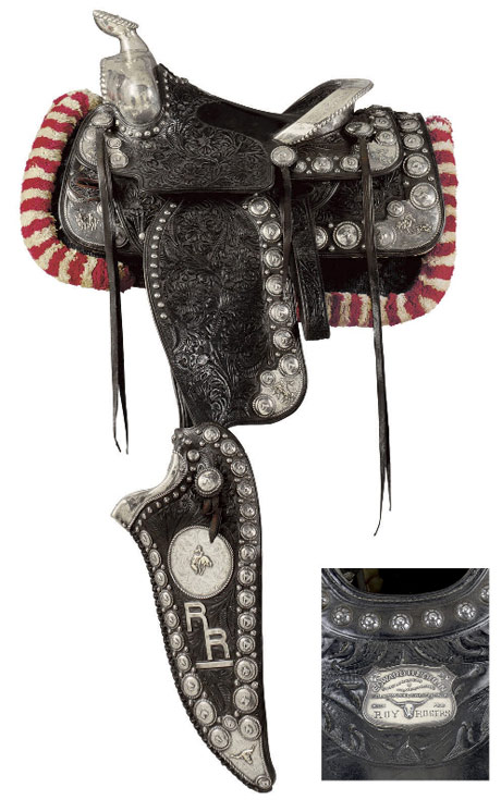 "The special custom parade saddle was ordered by Roy Rogers from Edward H. Bohlin in around 1949. The ""Taxin"" black, floral carved silver and gold mounted parade saddle features three-dimensional gold rodeo scenes on the corners including bareback riders, bronc busters, bulldoggers, calf ropers and steerheads. It has figural horsehead conchos on the corners and around the perimeter; 'Let 'er buck' cowboy on the silver horn; long 25"" tapaderos with a large central silver medallion and gold RR letters stacked just below; ROY ROGERS engraved onto the Bohlin seat plate; stylized Cheyenne cantle with raised gold RR initials on the rear and a rope edge. The matching bridle has square ferrule reins, and there's a breast plate and regal hip drops. This saddle was Roy's last and most ornate parade saddle. It was displayed on Trigger Jr. at the Branson museum."