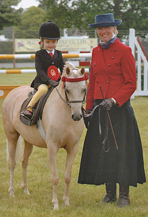 Julie Templeton with a newcomer to the lead rein classes, Parkdale Vanilla, Supreme Led Rein at the British Show Pony Society Championships in 2010.