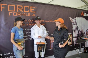 Nicole Lansdown and Kate Mackie at the Alltech stand with Emma Robinson