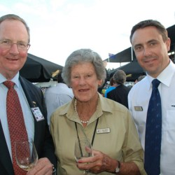 Pictured in 2012, Tiny White is flanked by then ESNZ President Chris Hodson, left, and ESNZ Chief Executive Jim Ellis.