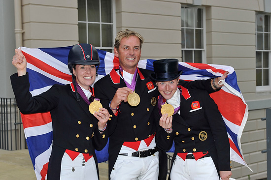 Great Britain's Charlotte Dujardin, Carl Hester and Laura Bechtosheimer won dressage team gold on Tuesday at the London 2012 Olympic Games.