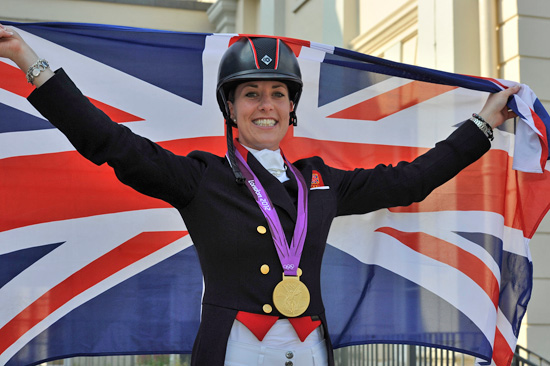 Britain's Charlotte Dujardin after winning Olympic dressage gold on Valegro.