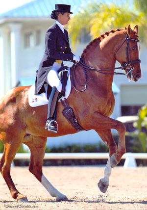 Yvonne Losos de Muñiz, pictured with Optimus Prime at the time they were chosen to represent the Dominican Republic at the 2010 World Equestrian Games