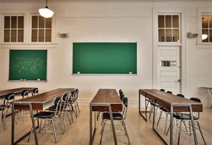 The M. Wells Dinette at MoMA PS1 is a cafeteria-style restaurant, which pays homage to the building's former identity as a schoolhouse with communal tables.