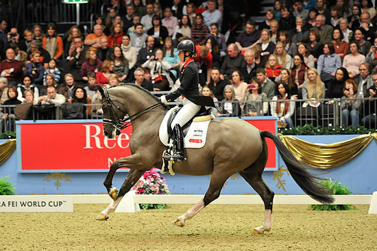 The London 2012 Olympic individual and team gold medal winning partnership of Charlotte Dujardin and Valegro (GBR) topped the fifth leg of the Reem Acra FEI World Cup™ Dressage Western European League series at Olympia in London.