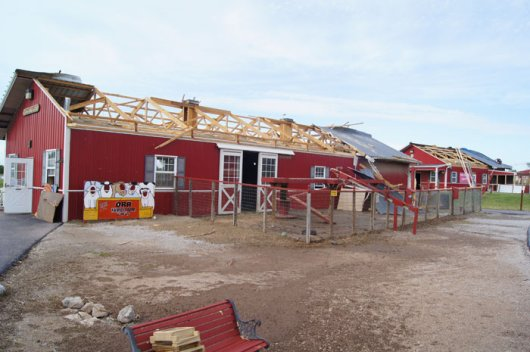 The Animal Barn at the Orr Family Farm sustained heavy damage, but all livestock within the structure survived.