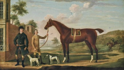Richard Roper's work, A huntsman with his chestnut hunter, held by a groom, with two hounds, an extensive landscape beyond.
