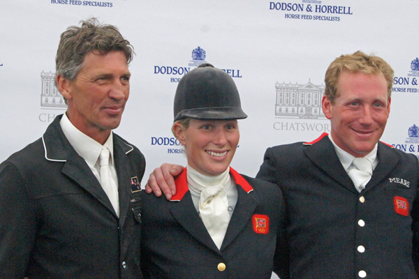 Andrew Nicholson (Mr Cruise Control, 1st), Zara Pillips (High Kingdom, 3rd) and Oliver Townend (Imperial Master, 2nd).