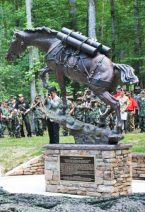 The statue of Staff Sergeant Reckless stands proud in Semper Fidelis Memorial Park in Virginia.