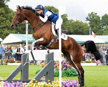 British eventer Kristina Cook with De Novo News. © Mike Bain