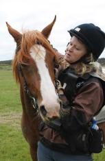 Robin Marshall with Aurora Reniah after the five-year-old mare's first 40km ride.
