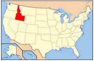Location of Idaho in the US.