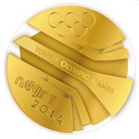 The Youth Olympic Games medal for Nanjing, designed by Slovakia's Matej Čička.