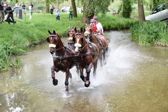 Chester Weber (USA) goes through the eighth obstacle on the marathon phase at Royal Windsor.