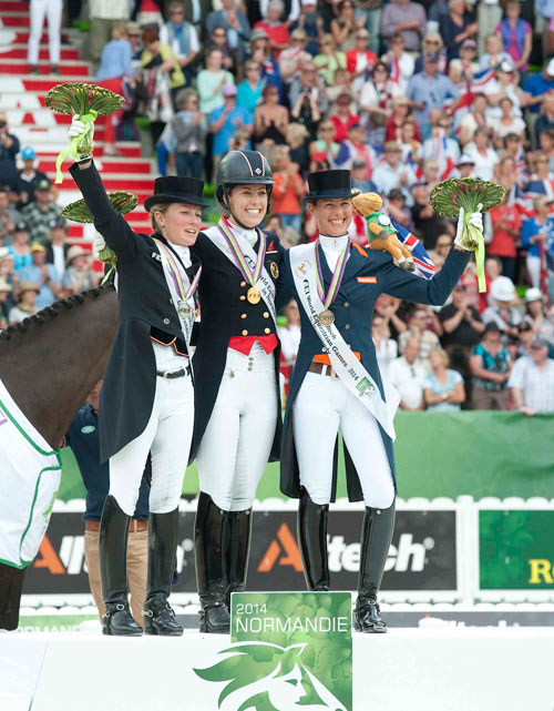 Helen Langehanenberg (silver), Great Britain's Charlotte Dujardin (gold) and Germany's Kristina Sprehe (bronze). © Paul Harding/Lewis Harding Images