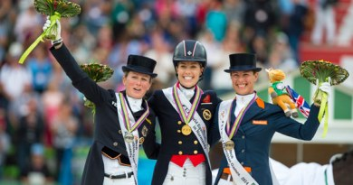 On the podium for the Grand Prix Freestyle at the Alltech FEI World Equestrian Games 2014 in Normandy, L-R: Germany's Helen Langehanenberg (silver), Great Britain's Charlotte Dujardin (gold) and The Netherlands' Adelinde Cornelissen (bronze).