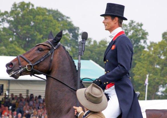 William Fox-Pitt on Bay My Hero being interviewed by Matt Ryan at the Burghley Horse Trials last year. © Mike Bain