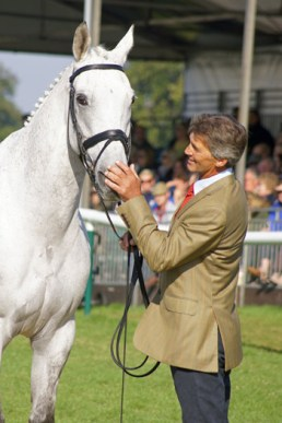 Andrew Nicholson and Avebury at the last trot-up on Sunday morning.