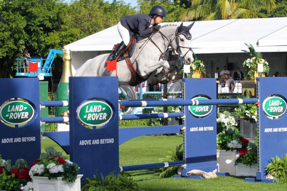 Laura Kraut and Cedric have won the 2015 $125,000 Trump Invitational Grand Prix at Mar-a-Lago in Palm Beach, Florida.