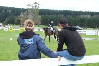 Bonnie Farrant and Kaipara Dior warming up under watchful eye of Penny Castle and Jock Paget.