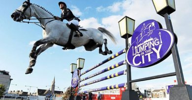 "Bertram Allen and Thriller P in The Underwriting Exchange Limited ""Jumping In The City"" Grand Prix during the Final Leg of Jumping In The City in Dublin."