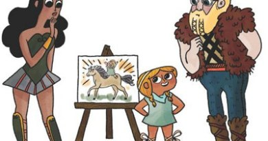 Princess Pinecone illustrates to her parents the sort of horse she wants for her birthday.