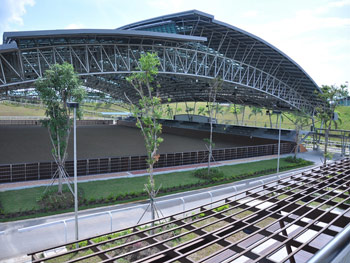 The covered arena at the Singapore Turf Club.