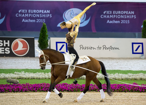 The reigning world and defending European champions, Jasmin Lindner and Lukas Wacha from Austria, clinched the Pas de Deux title once again the FEI European Vaulting Championships 2015 in Aachen, Germany.