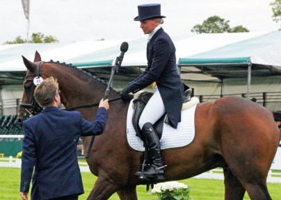 Georgie Strang (GBR) is interviewed by Steve Wild after her test on Cooley Business Time.