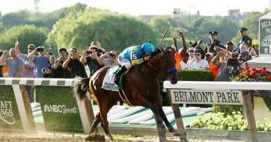 American Pharoah wins the 2015 Belmont Stakes. Photo: Mike Lizzi CC BY-SA 2.0 via Wikimedia Commons