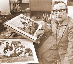Norman Thelwell at work in his later years.